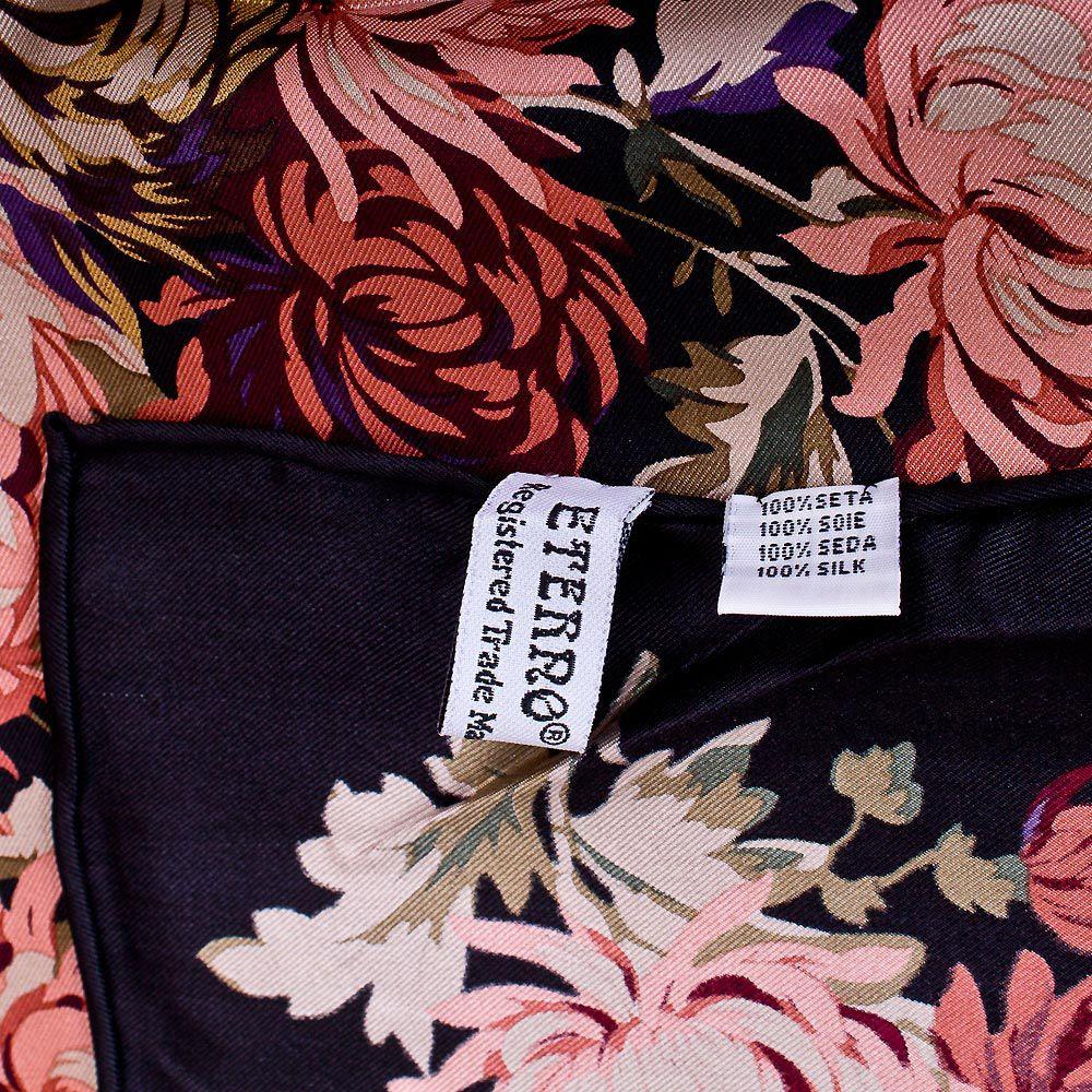 Шелковый платок Eterno черно-баклажановый с цветочным принтом