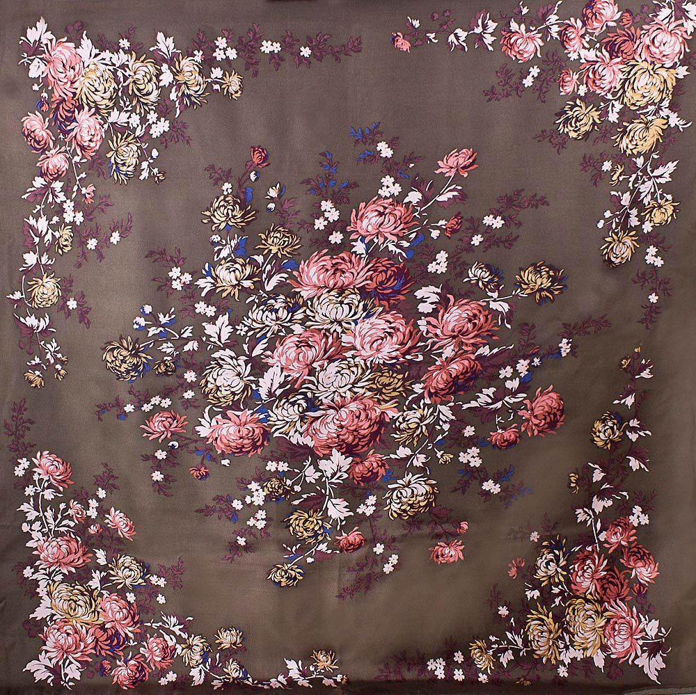 Шелковый платок Eterno бронзово-коричневый с цветочным принтом