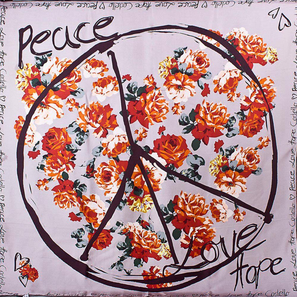 Шелковый платок Eterno лиловый с цветочным принтом и знаком пацифик