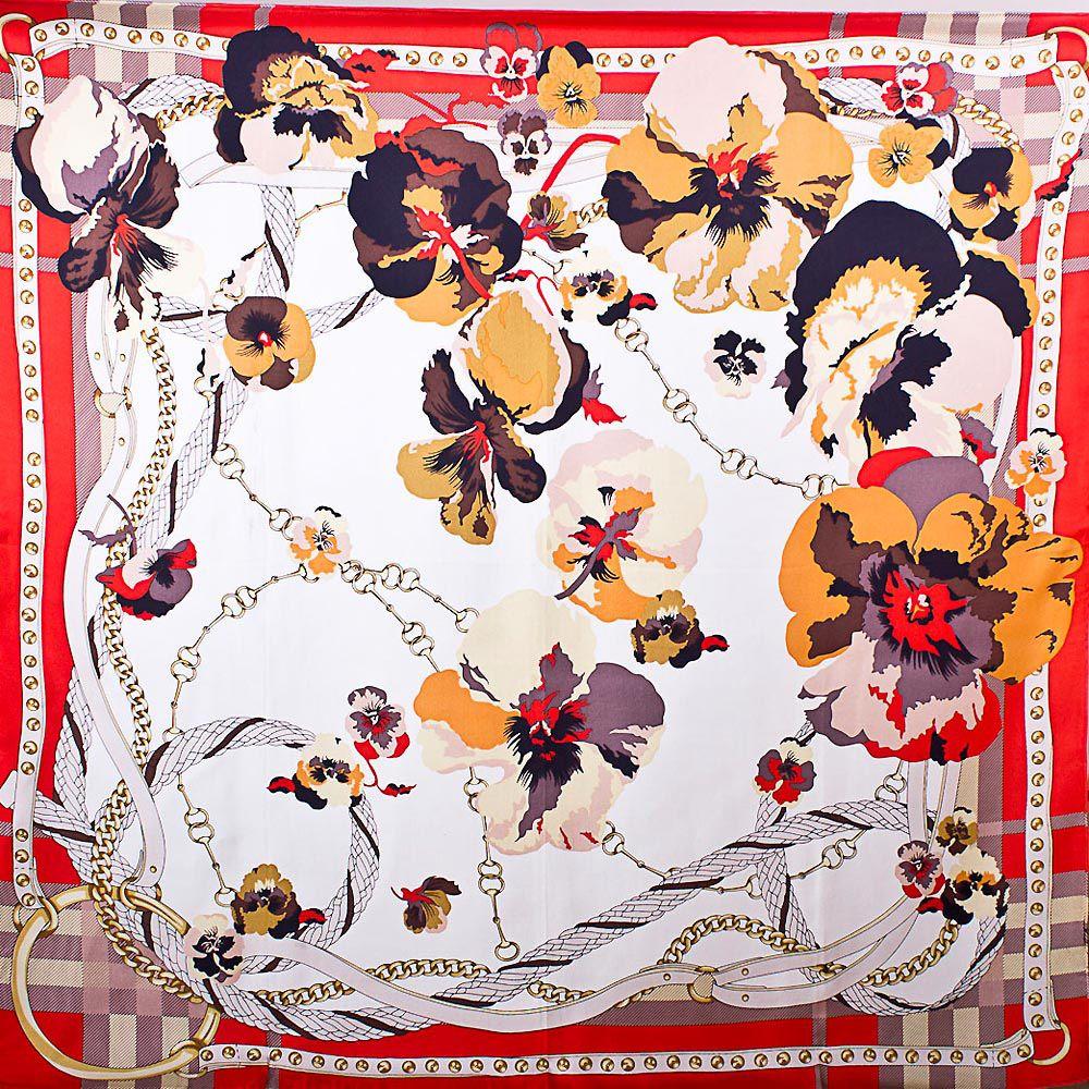 Шелковый платок Eterno белый с изображением цветков гортензии в красном обрамлении