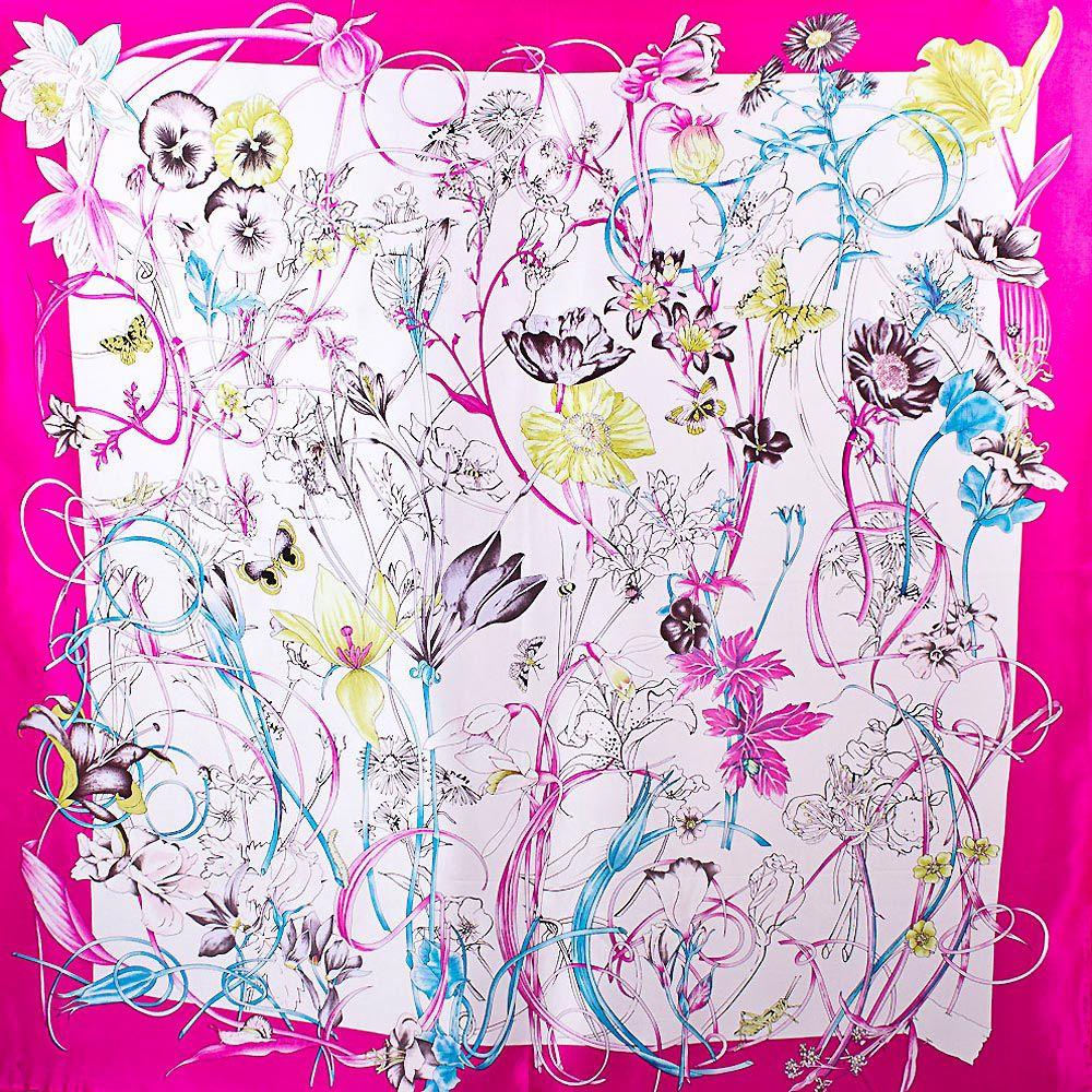 Шелковый платок Eterno цвета фуксии с цветочным принтом