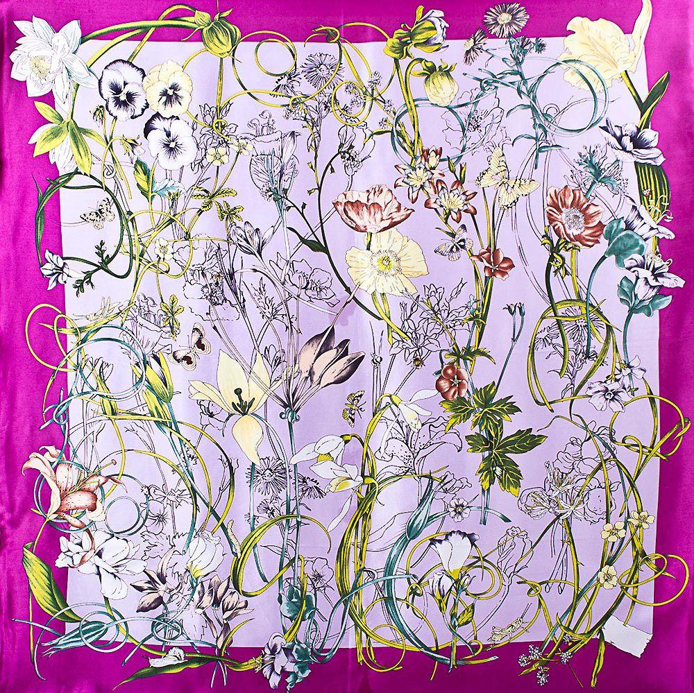 Шелковый платок Eterno цвета радиантовой орхидеи с цветочным принтом