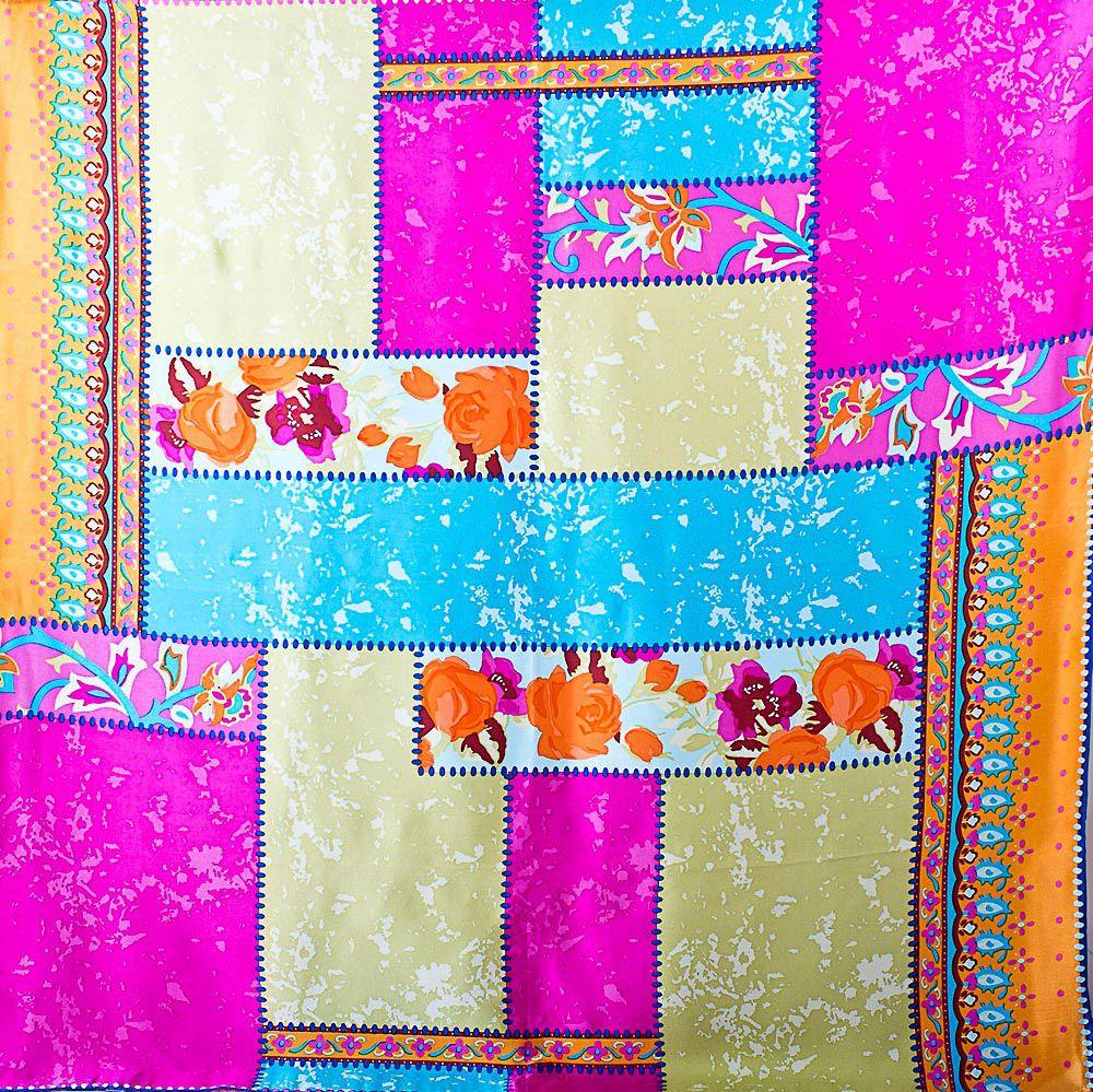 Шелковый платок Eterno розово-голубой со светло-оливковым