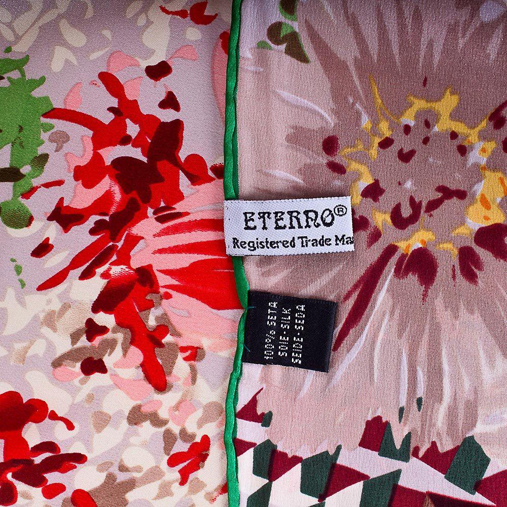 Шелковый платок Eterno с красными, желтыми и пыльно-розовыми цветами