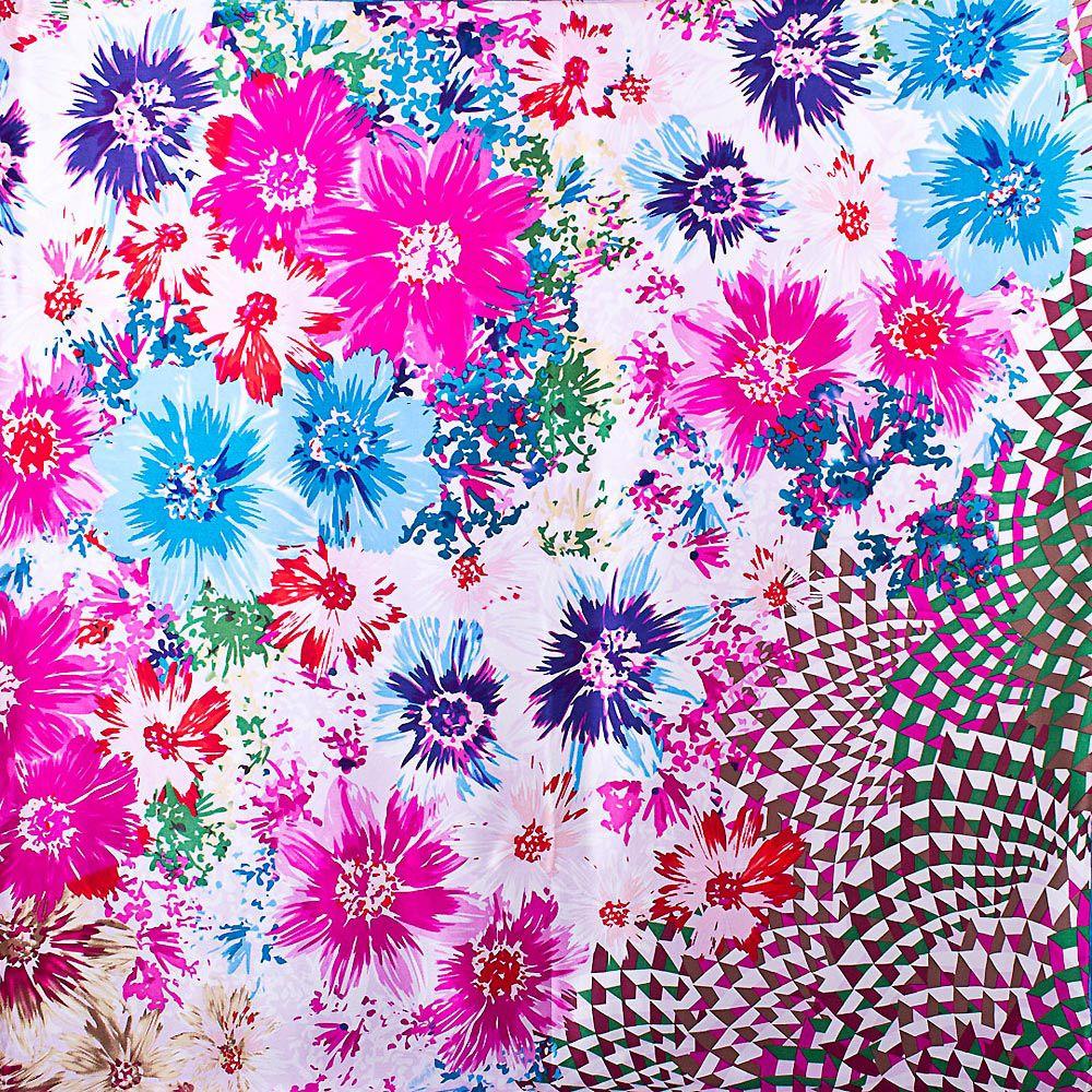 Шелковый платок Eterno с васильково-голубыми и ярко-розовыми цветами