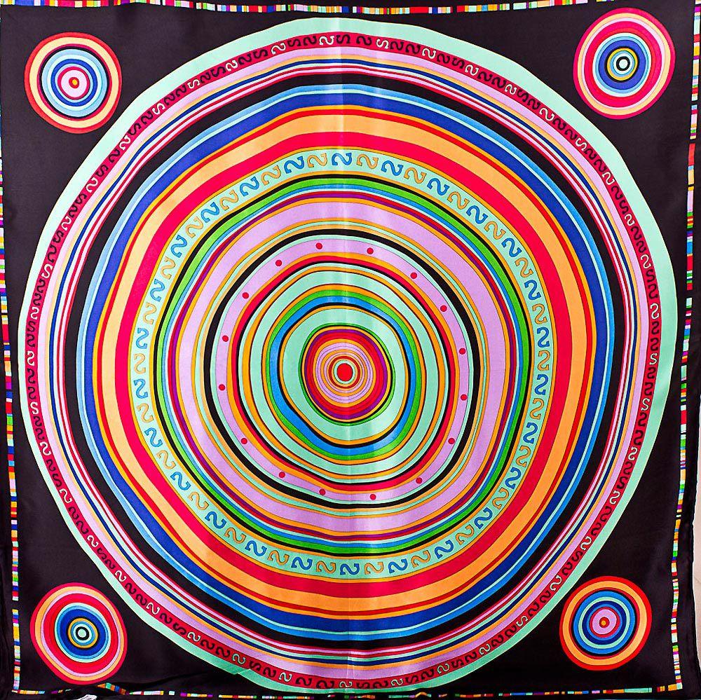 Шелковый платок Eterno с ярким принтом в виде дисков на черном фоне