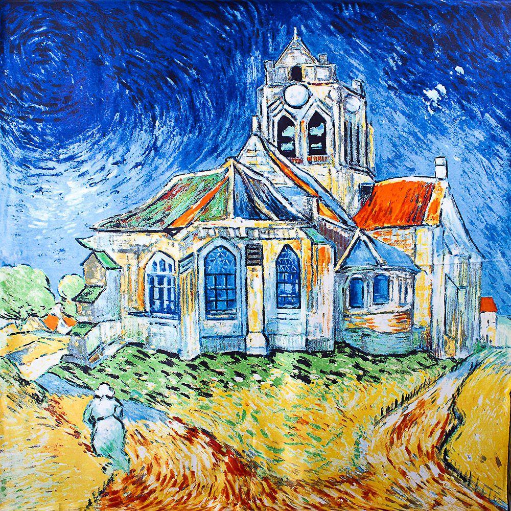 Шелковый платок Eterno с репродукцией Ван Гога Церковь в Овере