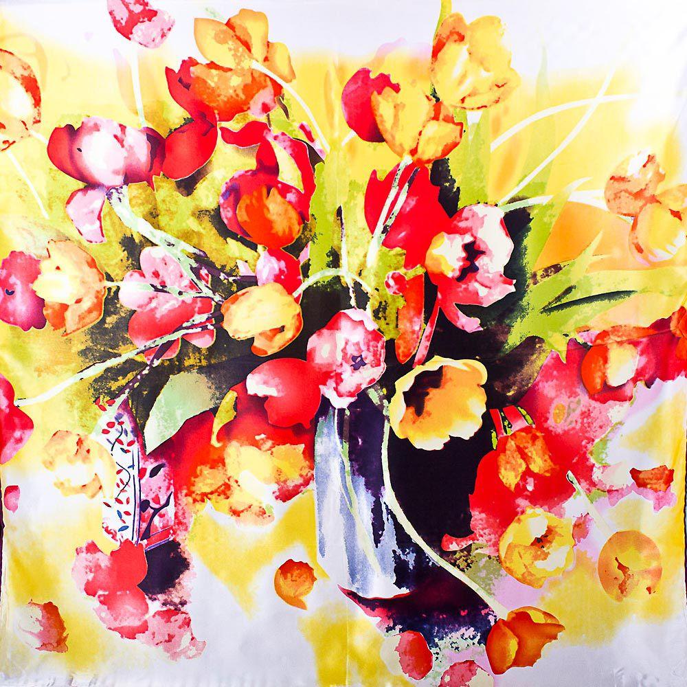 Шелковый платок Eterno с принтом в виде акварельного букета тюльпанов