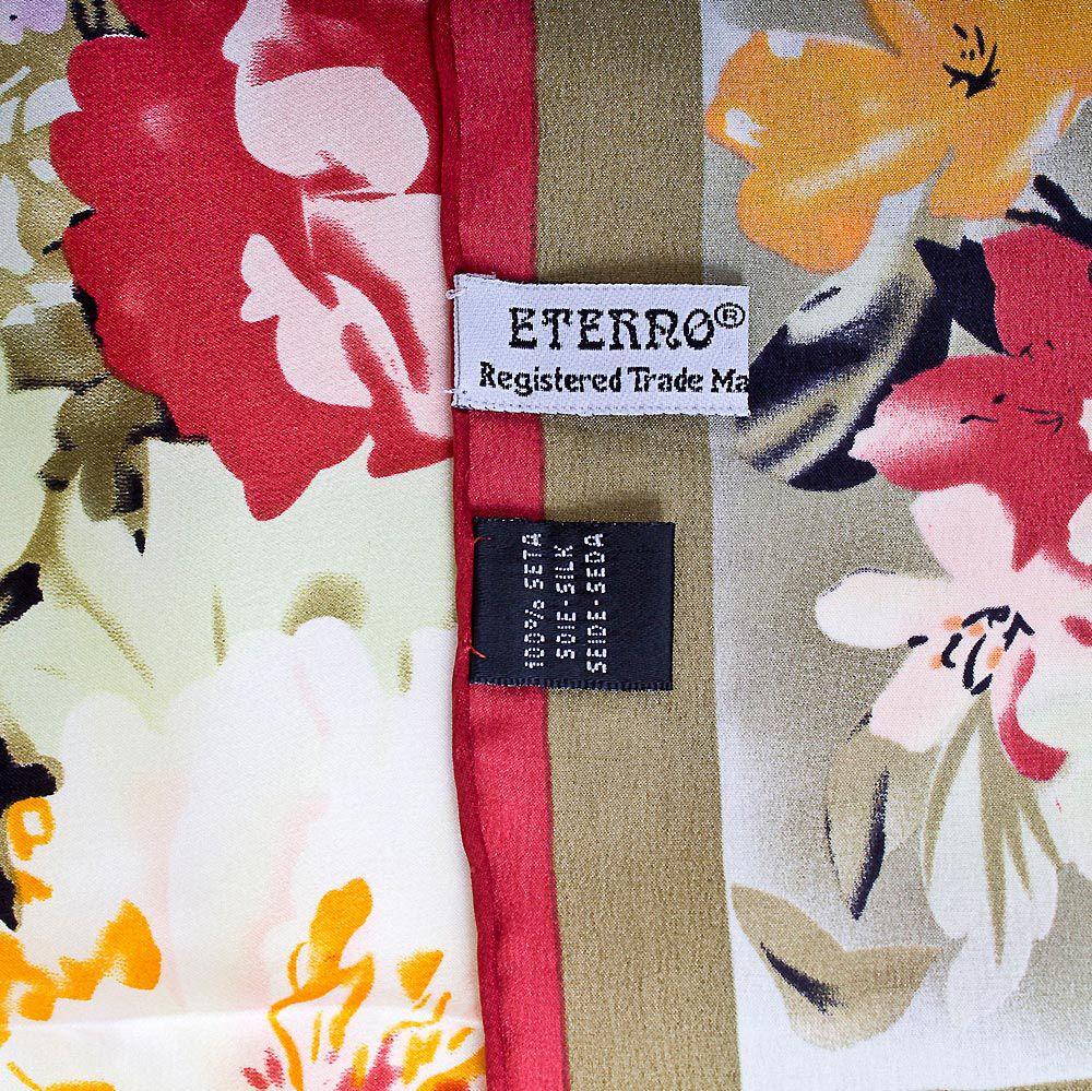 Шелковый платок Eterno серо-бежевый с цветочным принтом