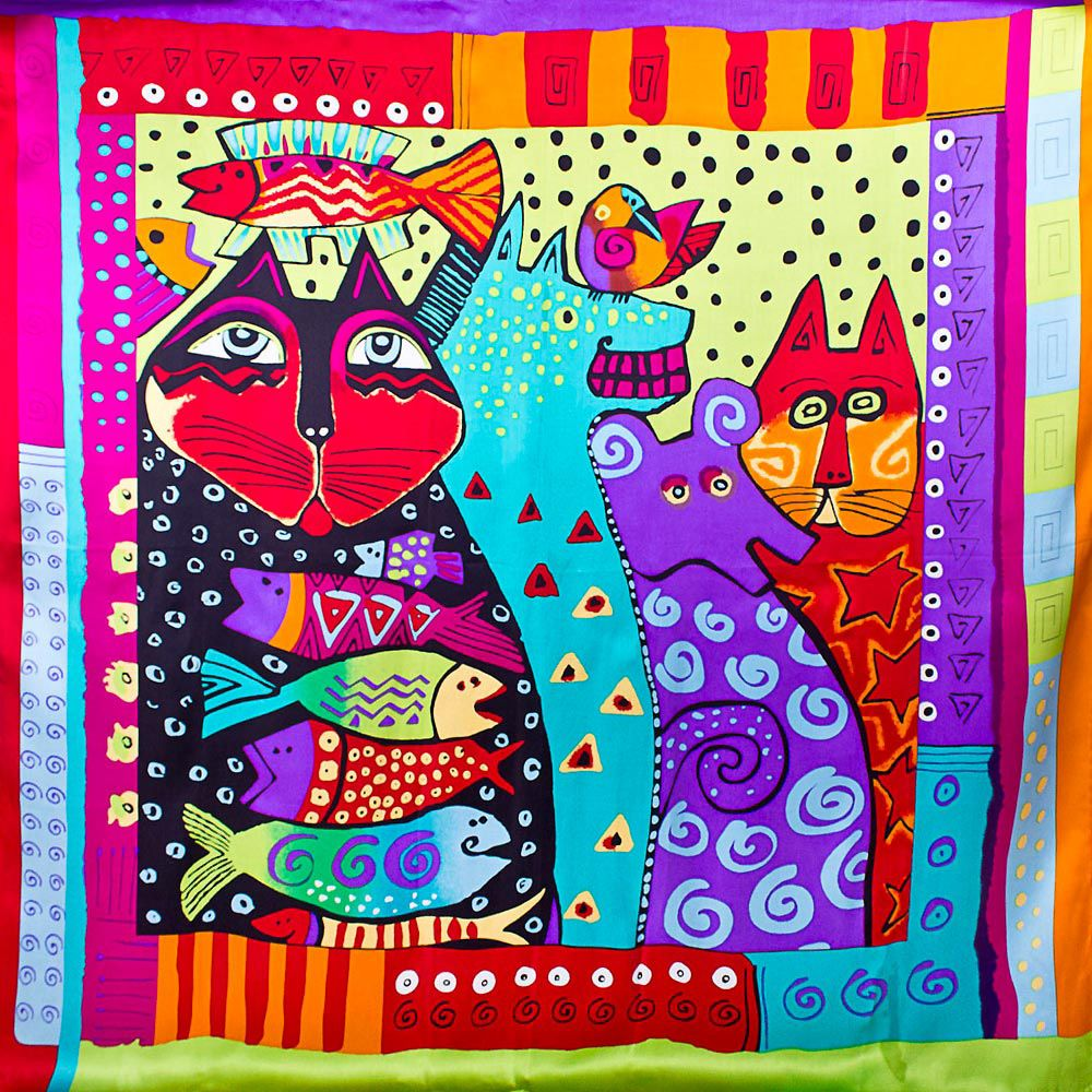 Шелковый яркий платок Eterno с котами