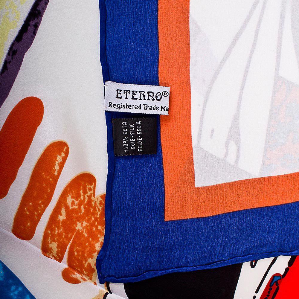 Шелковый платок Eterno с ярким fashion-принтом на белом фоне с синей каймой