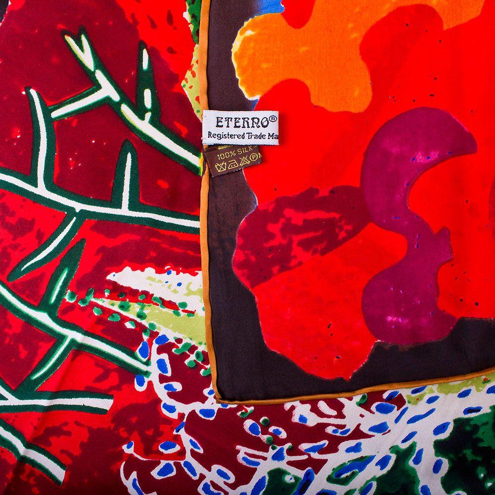 Шелковый платок Eterno яркий в оттенках красного и фуксии