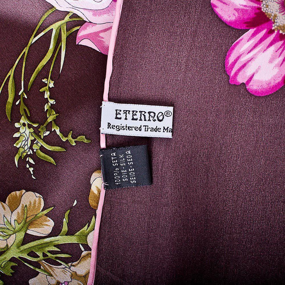 Шелковый платок Eterno цвета баклажан с цветочным принтом
