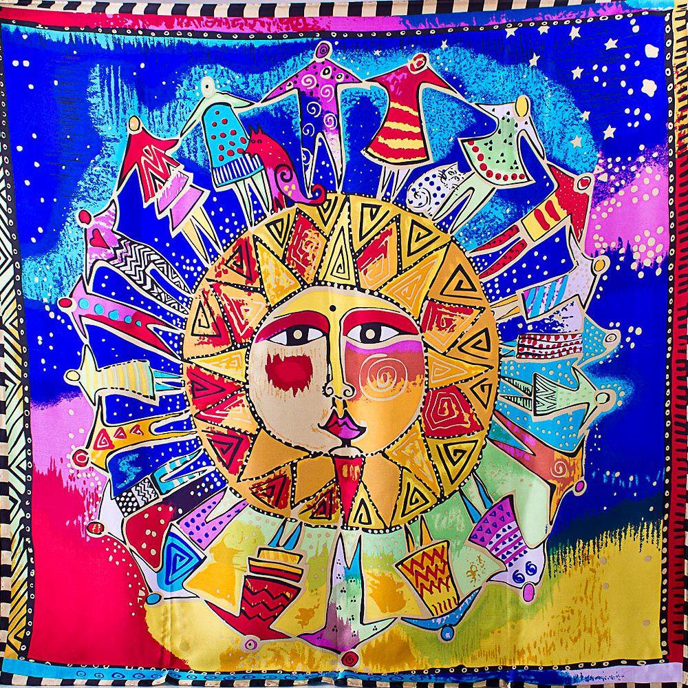 Шелковый платок Eterno с солнцем в хороводе