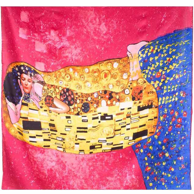 Платок Eterno SilkArt яркий розовый по мотивам картины Климта Поцелуй