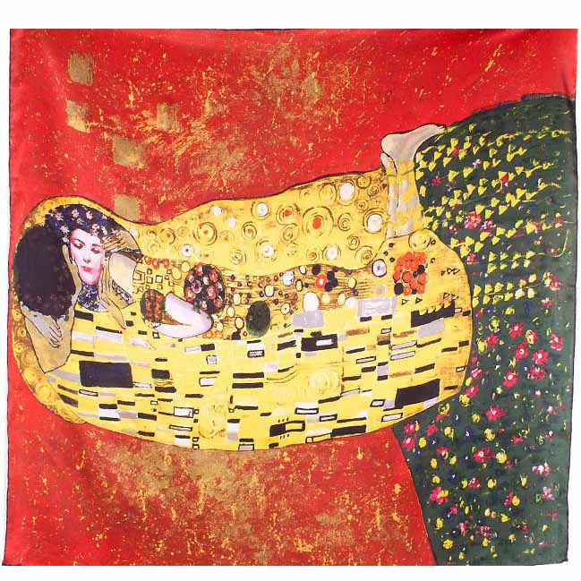 Платок Eterno SilkArt красный по мотивам картины Климта Поцелуй