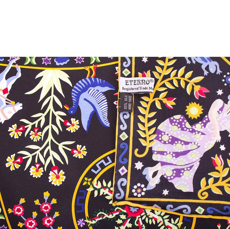 Шелковый платок Eterno черный с желтым древом