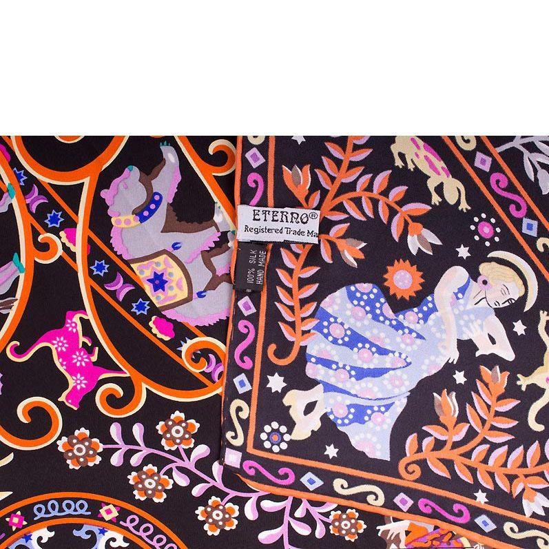 Шелковый платок Eterno черный с оранжевым древом