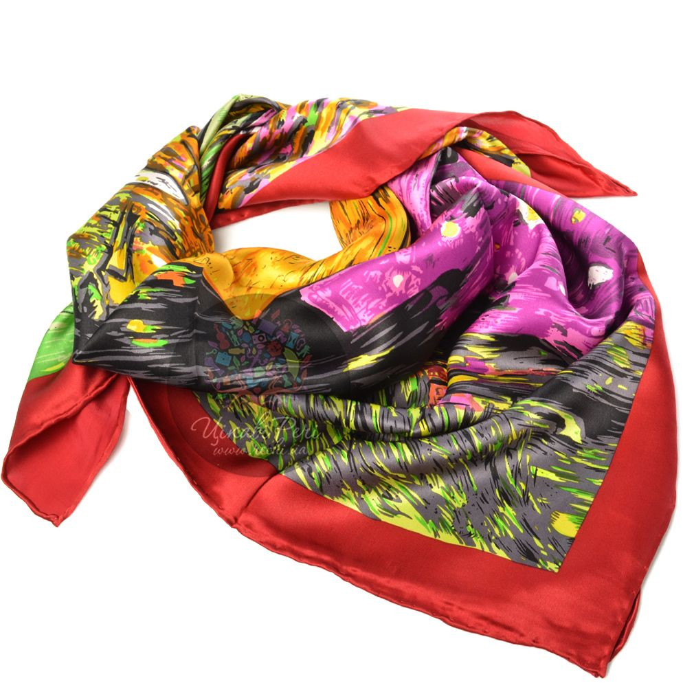 Шелковый платок Eterno ярких оттенков с красно-бордовым кантом