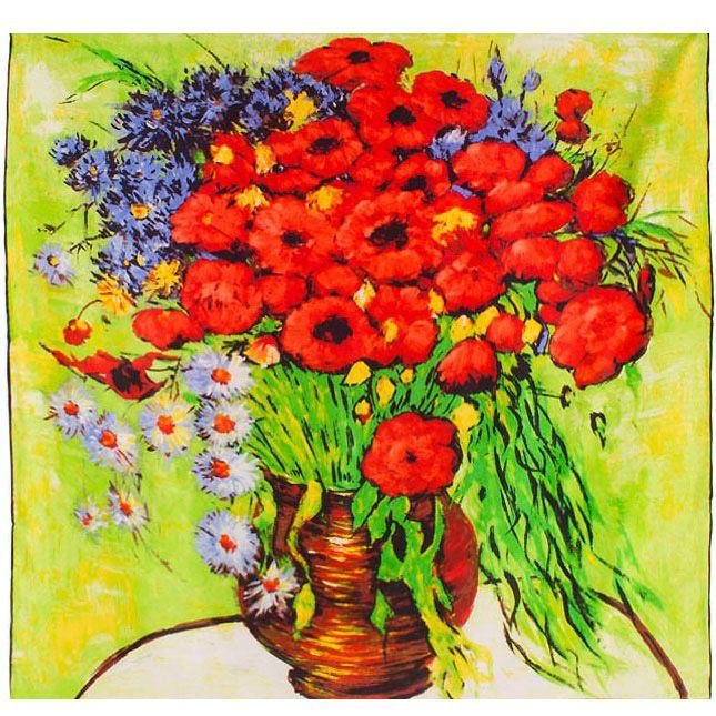 Платок Eterno SilkArt по мотивам картины Ван Гога Кувшин с луговыми цветами