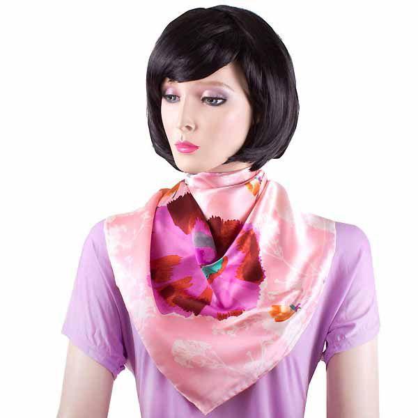 Шелковая косынка Eterno розовая с маками