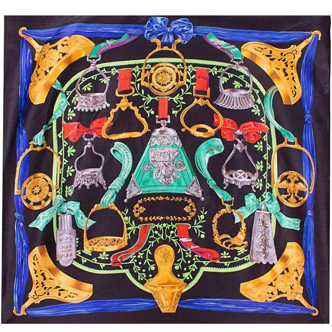 Шелковый платок Eterno черный с изображениями синего, бирюзового, желтого цвета