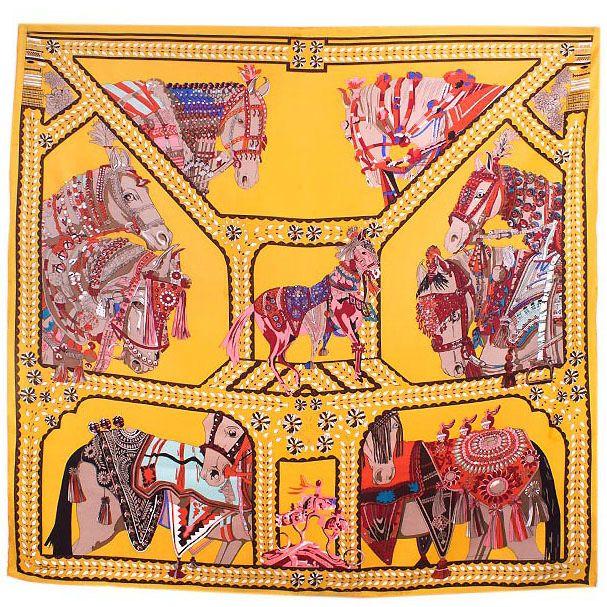Шелковый платок Eterno желтый Лошади
