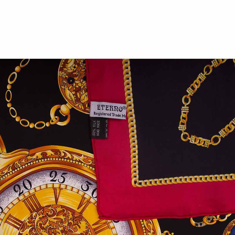 Шелковый платок Eterno Часы черно-бордовый