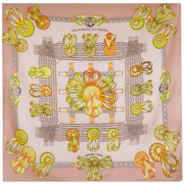 Шелковый платок Eterno бежевый с оранжево-салатовым рисунком