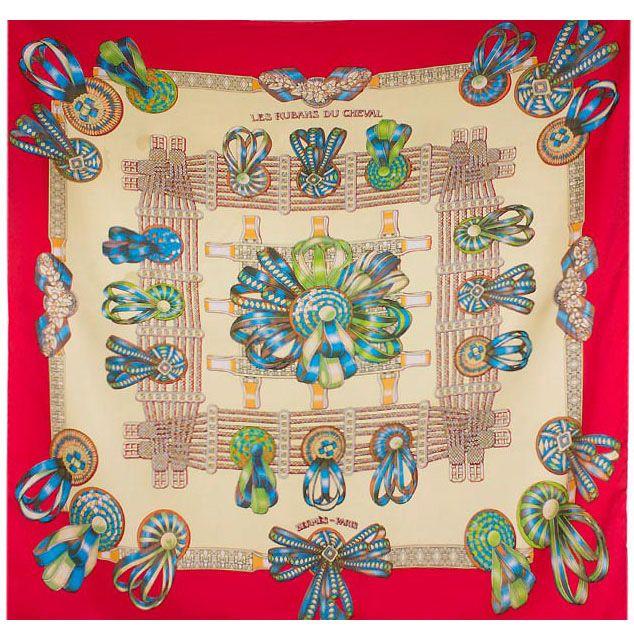 Шелковый платок Eterno бежево-красный с зелено-голубым рисунком