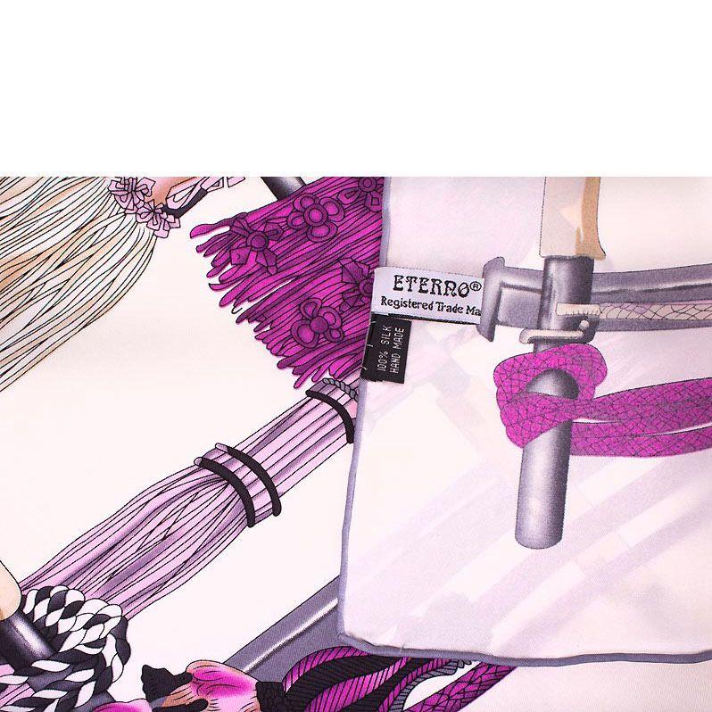 Шелковый платок Eterno в розово-фиолетовых тонах с изображением кистей