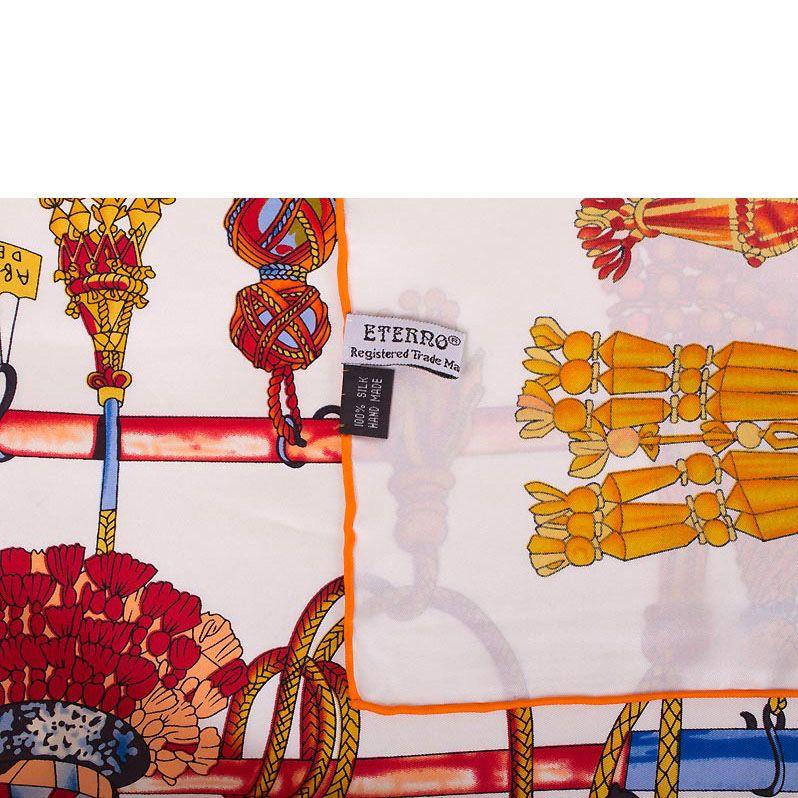 Шелковый платок Eterno с изображением кистей в оранжевых и голубых тонах
