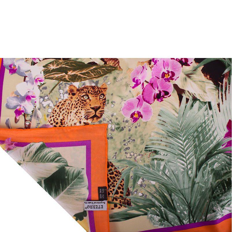 Шелковый платок Eterno Джунгли с фиолетовыми орхидеями