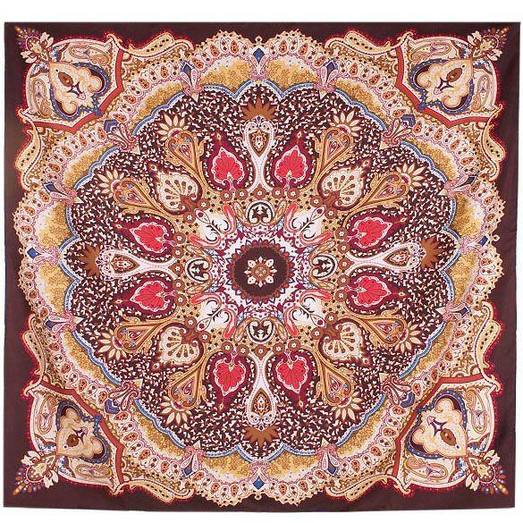 Шелковый платок Eterno коричневый с индийским орнаментом