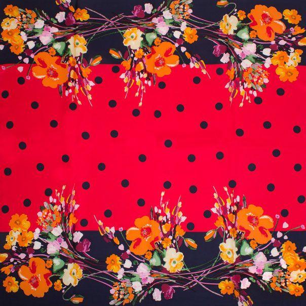 Шелковый платок Eterno Красный в горох с обрамлением из цветов