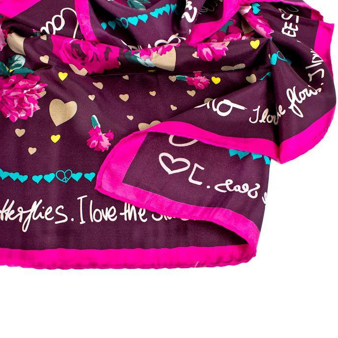 Шелковый платок Eterno в оттенке пурпура с цветочным принтом
