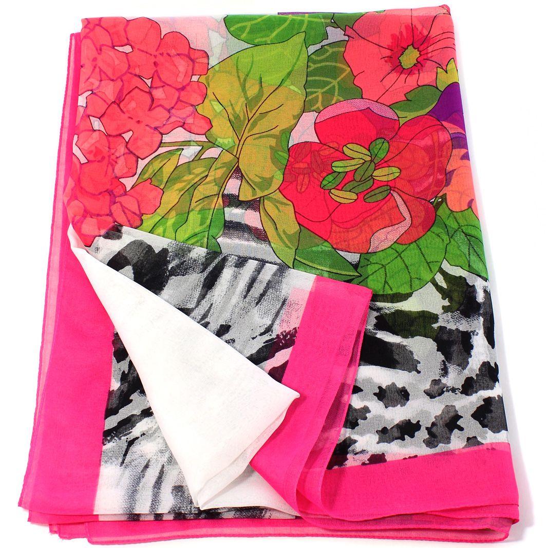 Итальянский палантин с тропическим цветочным принтом в ярко-розовом обрамлении