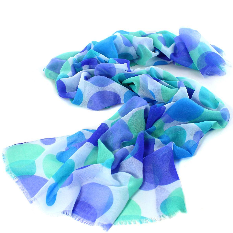 Женский шарф Fattorseta с крупным горохом в оттенках синего и цвета аквамарин