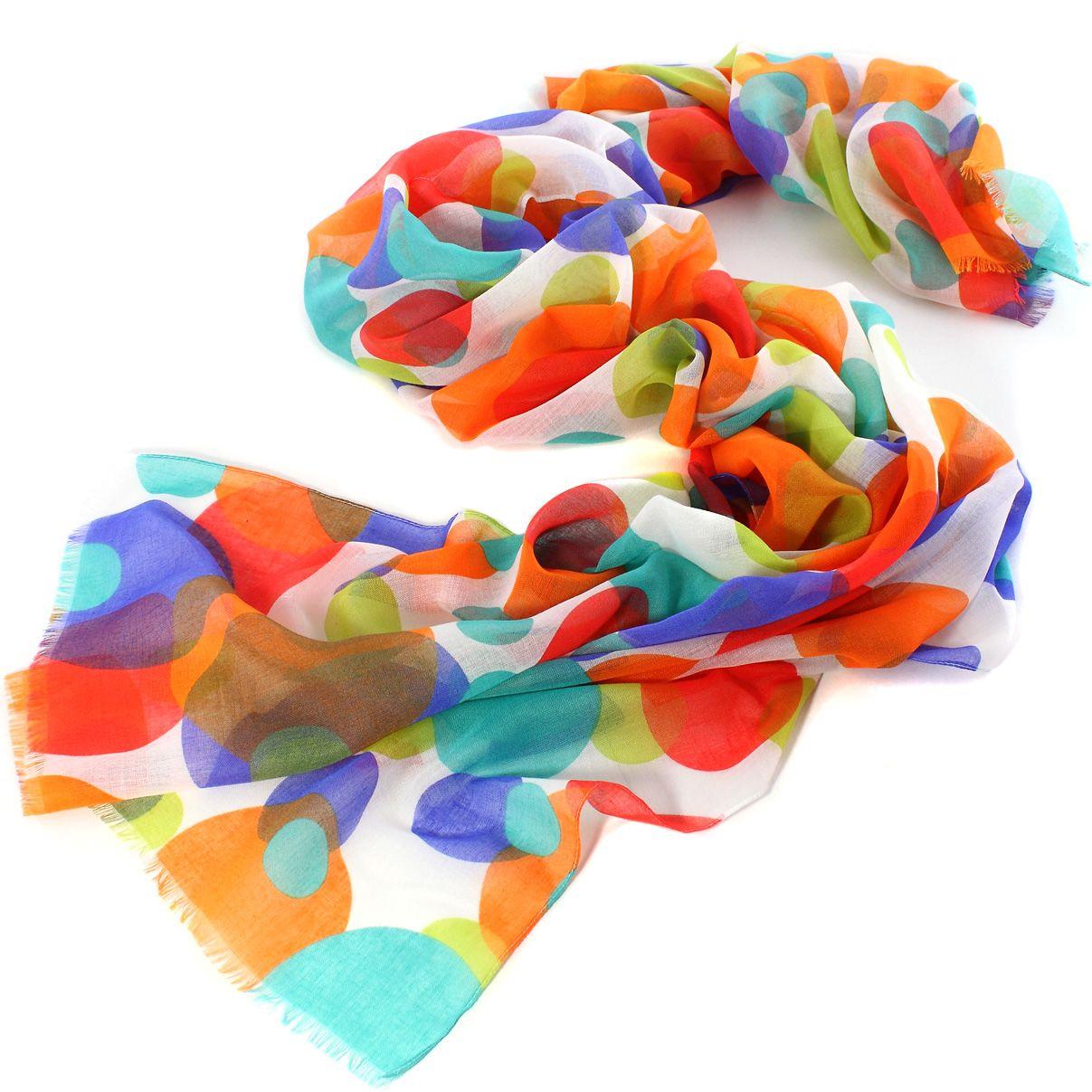Женский шарф Fattorseta с крупным ярким горохом