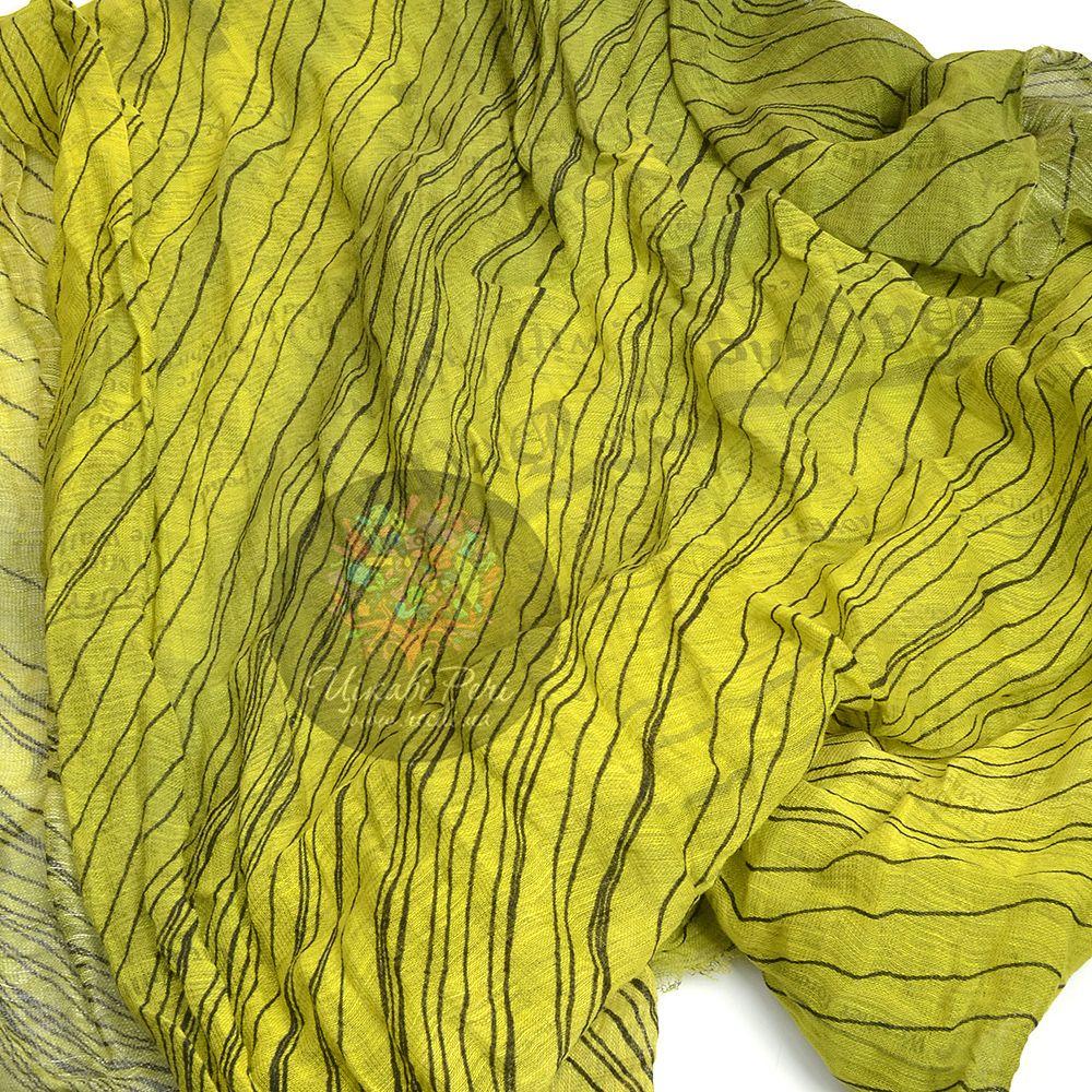 Шарф Galliano тонкий большой яркий лимонно-оливковый