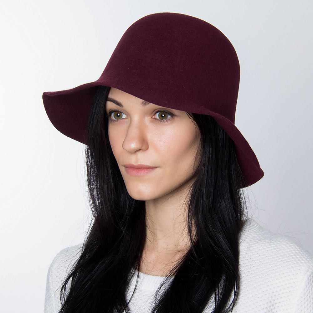 Шляпа флоппи Hat You бордового цвета с короткими полями