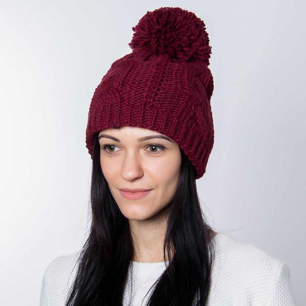 Шапка Hat You бордового цвета с большим балабоном