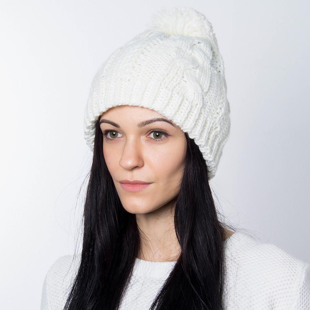 Шапка Hat You молочного цвета с большим балабоном