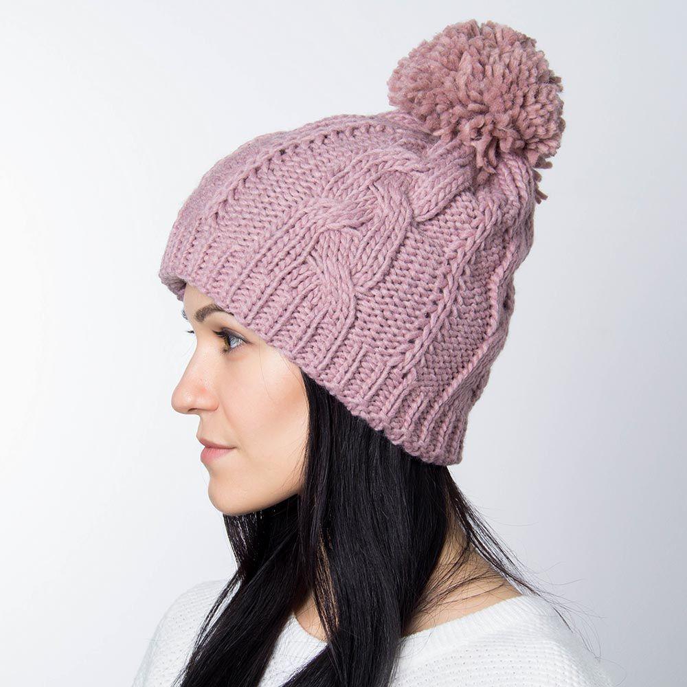 Шапка Hat You бледно-розового цвета с большим балабоном