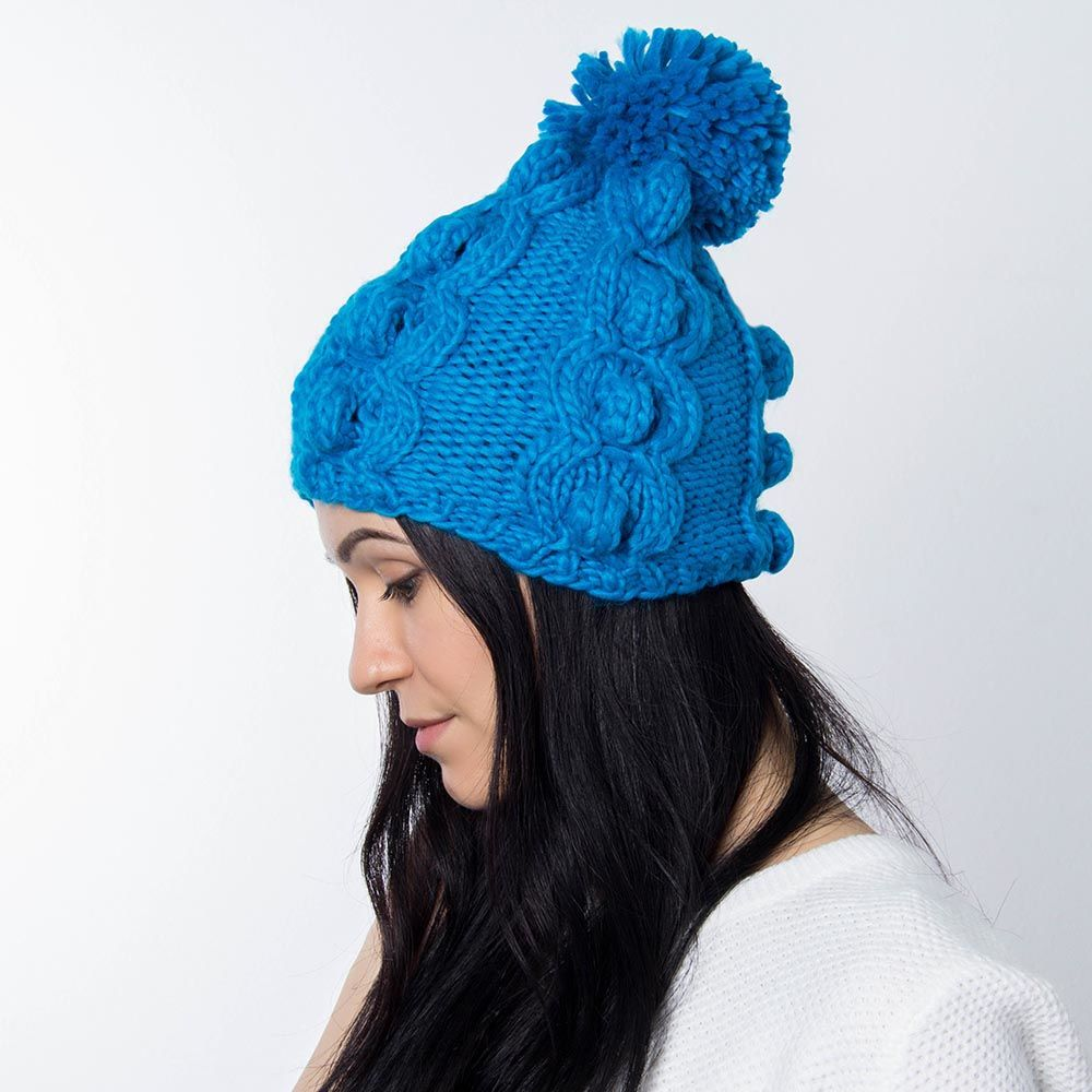 Шапка Hat You синего цвета с балабоном