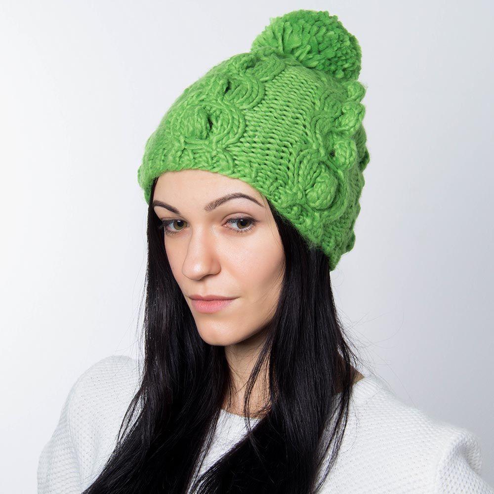 Шапка Hat You зеленого цвета с балабоном