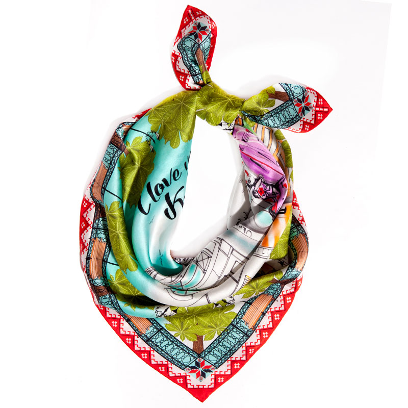 Яркий шейный платок D.OLYA by Olga Dvoryanskaya I Love You Kyiv с ручным подшивом