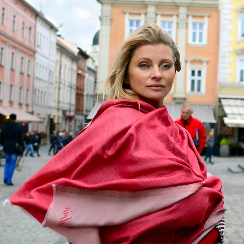 Кашемировый шарф Chadrin двухсторонний красный с бежевым