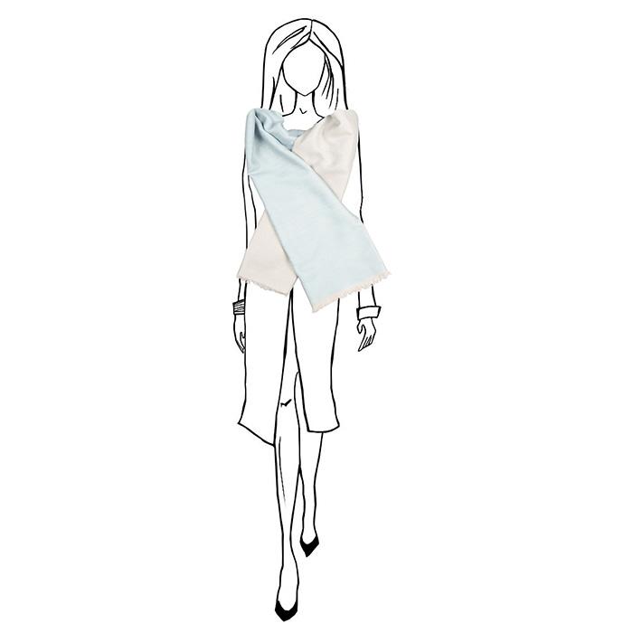 Кашемировый шарф Chadrin двухсторонний белый с голубым