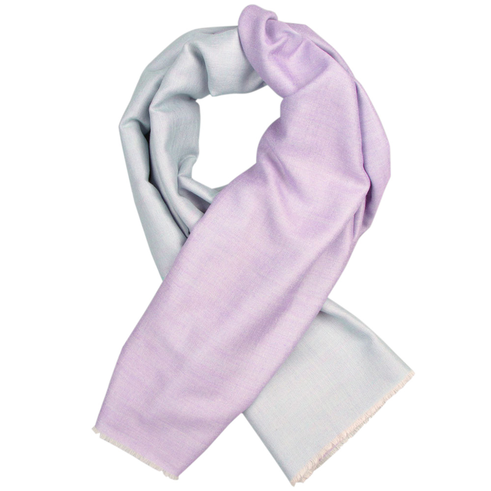 Кашемировый шарф Chadrin двухсторонний сиреневый с мятным